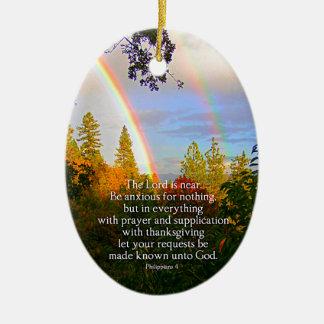 Vers chrétien de bible d'écriture sainte de forêt ornement ovale en céramique