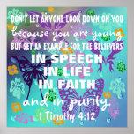 Vers chrétien de l'adolescence de bible de pureté posters