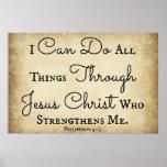 Vers de bible de Philippiens je peux faire tout de Affiches