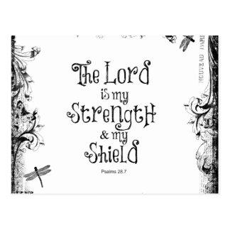 Vers de bible : Le seigneur est ma force Cartes Postales
