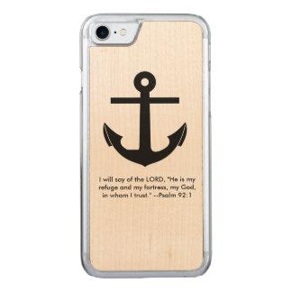 Vers d'écriture sainte d'ancre coque en bois iPhone 7