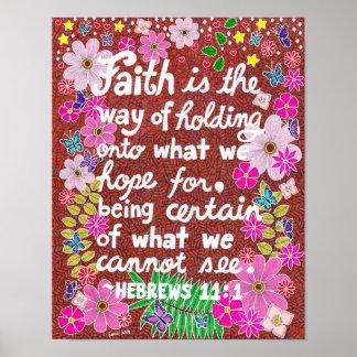 Vers floral coloré mignon de bible de foi poster
