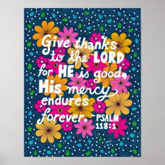 Vers floral coloré mignon de bible de thanksgiving poster
