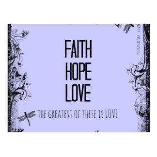 Vers inspiré de bible d'amour d'espoir de foi carte postale