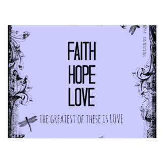 Vers inspiré de bible d'amour d'espoir de foi cartes postales
