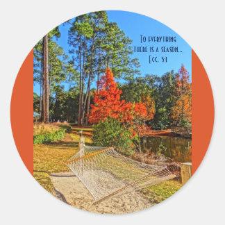Vers inspiré de bible d'écriture sainte d'automne sticker rond