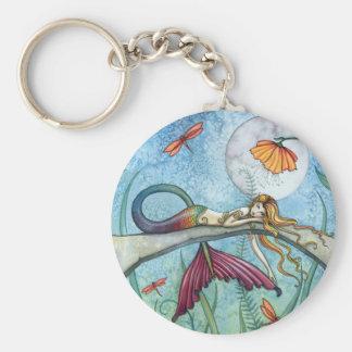 Vers le bas par l'art de sirène d'étang porte-clé rond