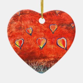 Vers le haut et vers le haut de l'art coloré ornement cœur en céramique