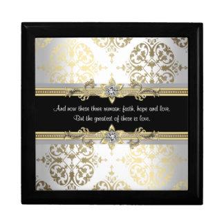 Vers noir de bible de damassé d'or grande boîte à bijoux carrée