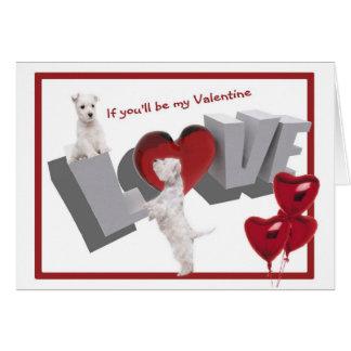 Version de Saint-Valentin d'amour de chiot de Carte De Vœux