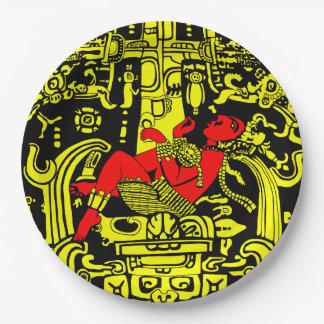 Version jaune et rouge d'astronaute antique - assiettes en papier