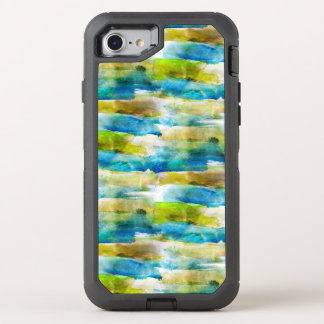 Vert abstrait d'aquarelle, bleu coque OtterBox defender iPhone 8/7