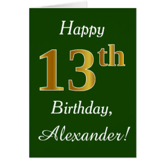Vert, anniversaire d'or de Faux 13ème + Nom fait Carte De Vœux