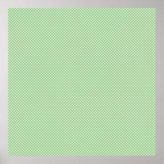 Vert avec les points blancs simples poster