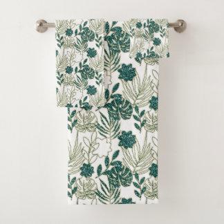 Vert blanc botanique tropical turquoise de