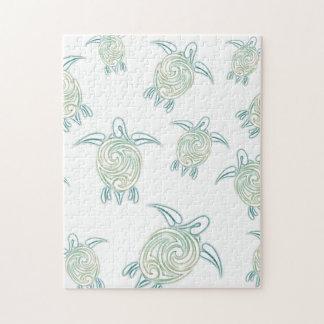 Vert blanc de motif de tortues de mer puzzle