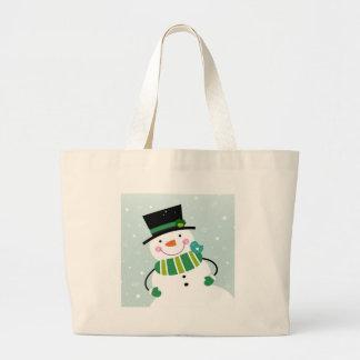 Vert blanc de petit bonhomme de neige mignon grand tote bag