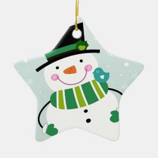 Vert blanc de petit bonhomme de neige mignon ornement étoile en céramique