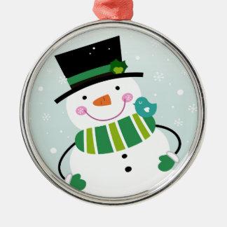 Vert blanc de petit bonhomme de neige mignon ornement rond argenté