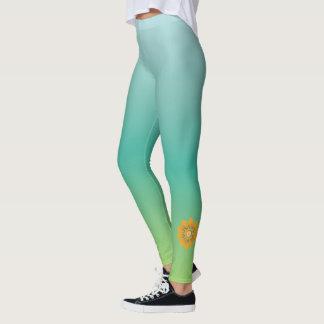 vert bleu de floraison de _de _de guêtres du leggings