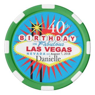 Vert bleu de quarantième d'anniversaire de Las Jetons De Poker