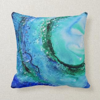 Vert bleu de vague de beaux-arts d'amant d'océan oreiller