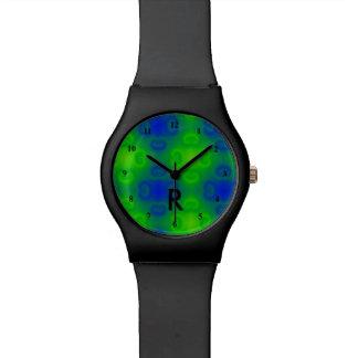 Vert bleu décoré d'un monogramme les années 70 montres bracelet