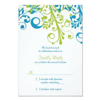 Vert bleu floral abstrait de la carte   du mariage carton d'invitation 8,89 cm x 12,70 cm