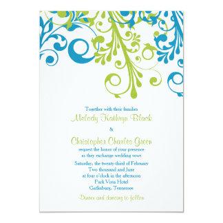 Vert bleu floral abstrait du faire-part de mariage carton d'invitation  12,7 cm x 17,78 cm