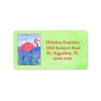 Vert Chartreuse de flamant rose Étiquettes D'adresse