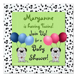Vert Dalma d'invitation de baby shower de jumeaux Carton D'invitation 13,33 Cm