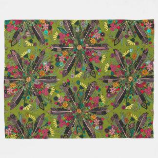 vert de Bohème de petit bouquet Couverture Polaire