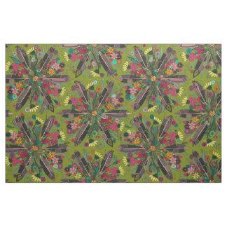 vert de Bohème de petit bouquet Tissu