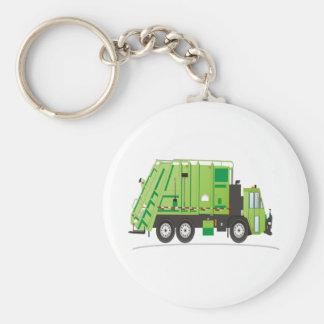Vert de camion à ordures porte-clé rond