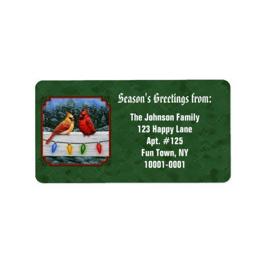 Vert de cardinaux et de lumières de Noël Étiquettes D'adresse
