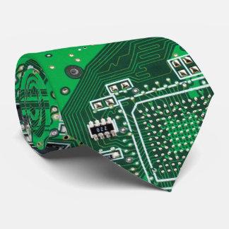 Vert de carte de geek d'ordinateur cravate avec motifs