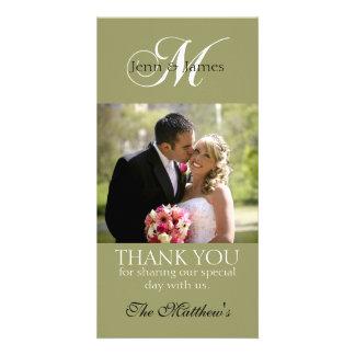 Vert de cartes photos de Merci de mariage du Carte Avec Photo