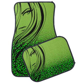 Vert de chaux animal de l'impression | de fille de tapis de voiture