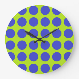 Vert de chaux bleu de pois grande horloge ronde