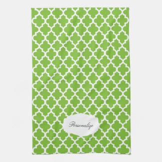 Vert de chaux de Quatrefoil et couleur du blanc | Linges De Cuisine