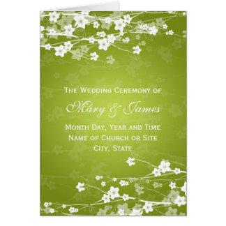 Vert de chaux élégant de fleurs de cerisier de carte de vœux