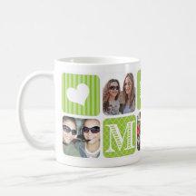 Vert de collage de photo mug blanc