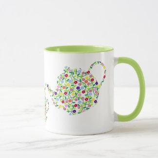 Vert de conception de tasse de théière de fleur
