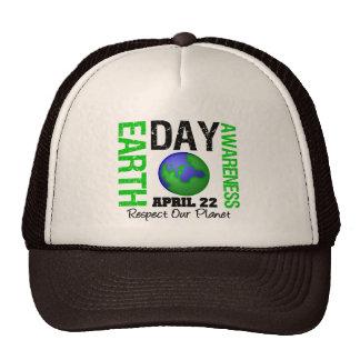 Vert de conscience de jour de la terre casquettes