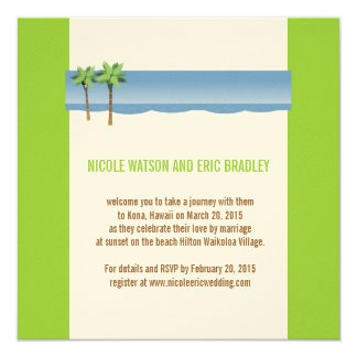 Vert de crème de palmiers d'invitations de mariage carton d'invitation  13,33 cm