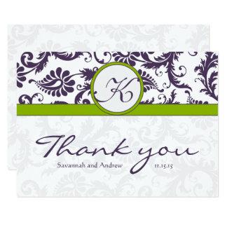 Vert de damassé et Merci pourpre de mariage de Carton D'invitation 8,89 Cm X 12,70 Cm