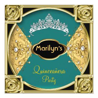 Vert de fête d'anniversaire de Quinceañera 15ème Carton D'invitation 13,33 Cm