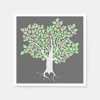 vert de menthe de gris d'arbre d'amour épousant serviette jetable