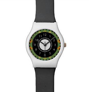 Vert de montre d'art de motif de fleurs
