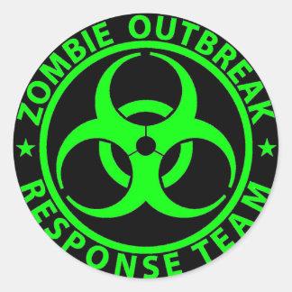 Vert de néon d'équipe de réponse de manifestation sticker rond